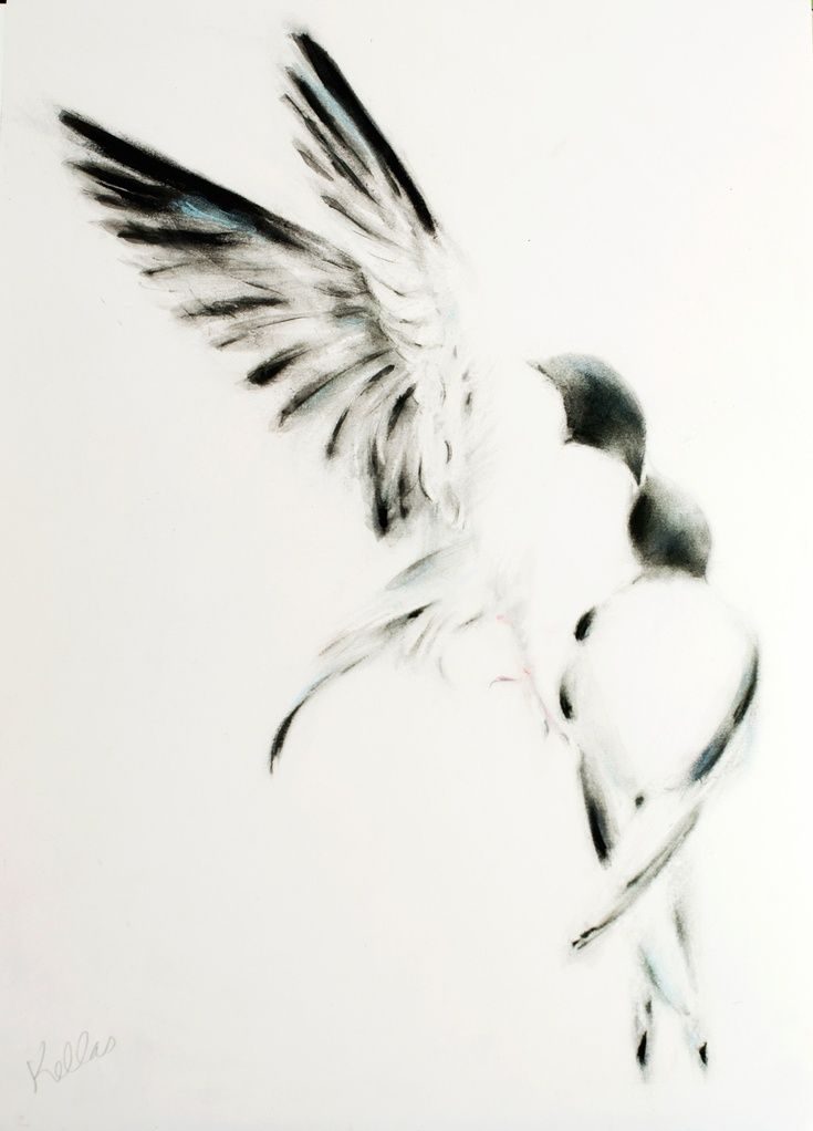 ARTFINDER: Time to Leave the Nest by Kellas Campbell - I used ink, charcoal, graphite powder and pencils and pastels to draw a dove feeding her child, who perhaps should be encouraged to leave the nest.