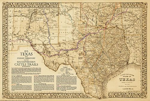 1876 Great Texas Southwestern Cattle Trails Map Second Edition