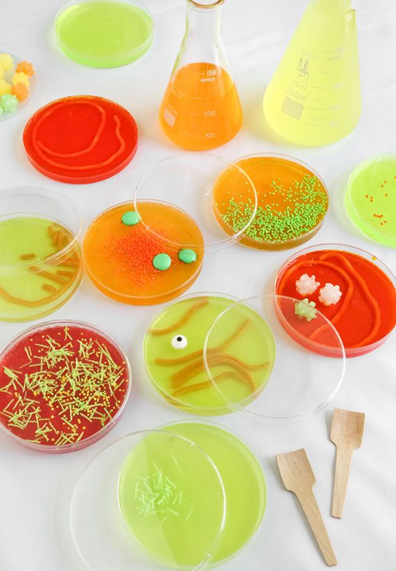 Halloween mad scientist jello in petri dishes
