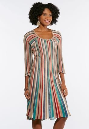 16334d5889c Cato Fashions Plus Size Multi Color Stripe Knit Flare Dress  CatoFashions