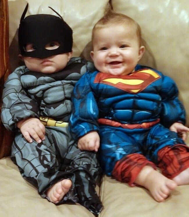Epic Muscle Batman vs Superman Costume | MyBabyNeedThis | Transform your baby to become an awesome superhero and take down all the Halloween monsters with this epic superhero costume.
