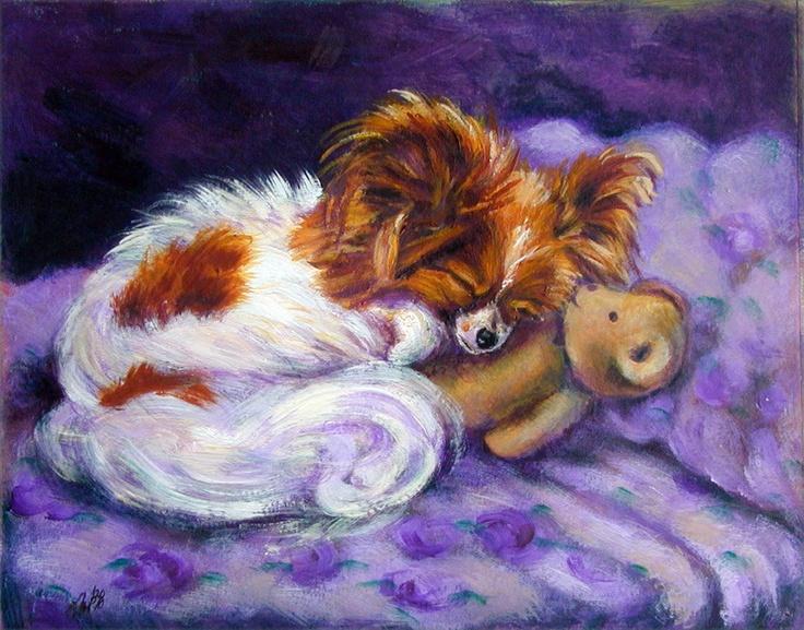 Papillon Dog Giclee Fine Art Print on Somerset by DogArtByLyn