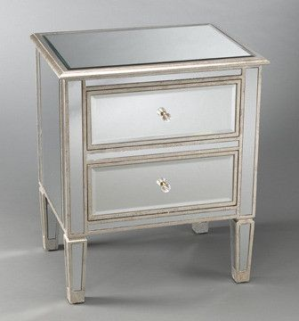 two drawer mirrored bedside table