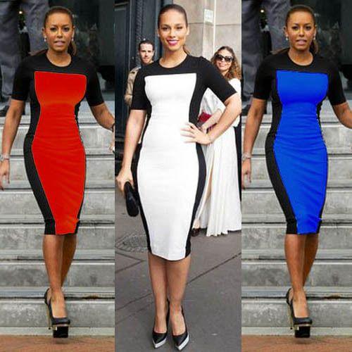 Сексуальные женщины платье элегантный летом OL дамы офис рабочая одежда бизнес вечернее платье лоскутная Bodycon ну вечеринку свадебные платья красный / белый / синий
