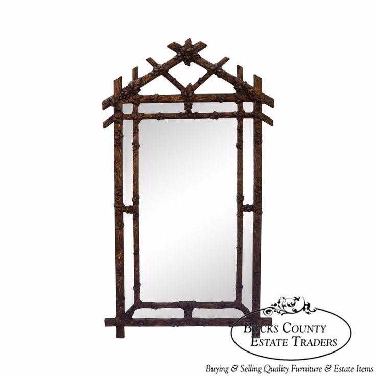 Vintage Faux Bamboo Hollywood Regency Gold Frame Wall Mirror #HollywoodRegency