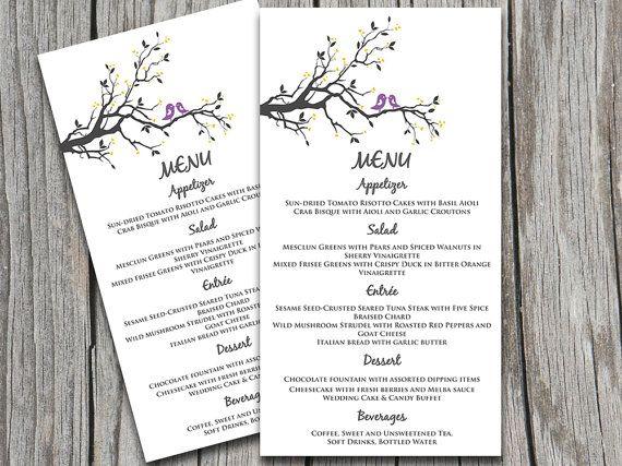 15 best DIY Wedding Menu Templates - Instant Download images on - menu word template