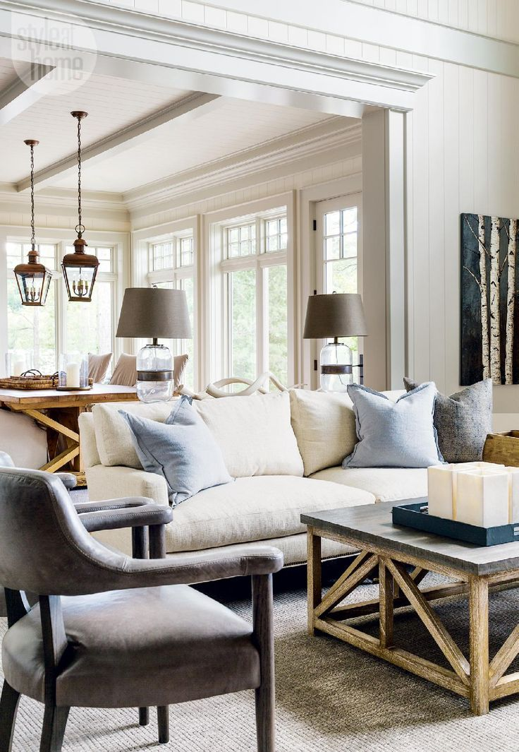 Love the lantern hanging lights:  Country casual cottage