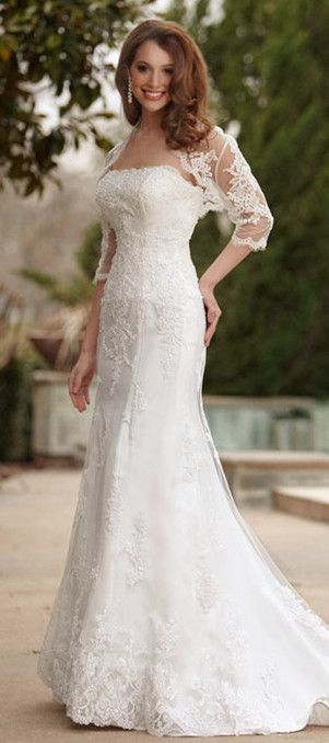 Mermaid Wedding Dress - Dream Wedding #romantic #bridal #white #wedding #dress #dresses #gowns #bride #women #ladies #fashion #elegant #beauty #couture #high_heels #train #veil #mermaid #sleeves #vintage #jaglady #tulle #lace #photography