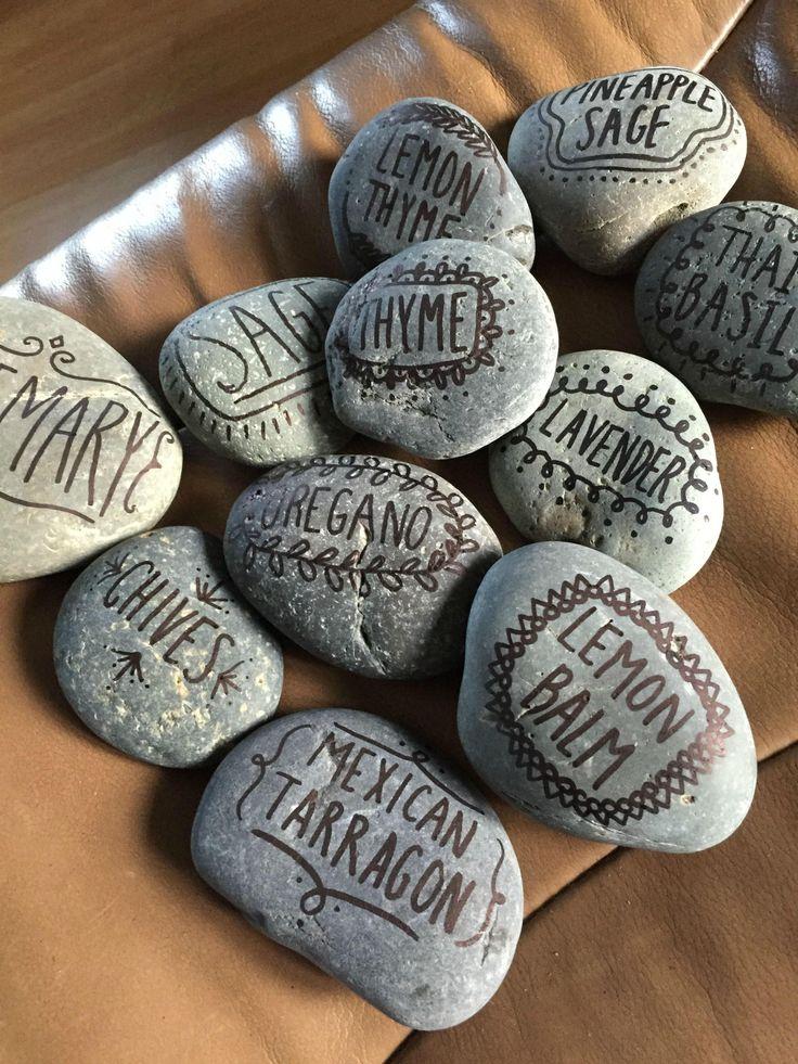 Garden markers - stones and sharpie!