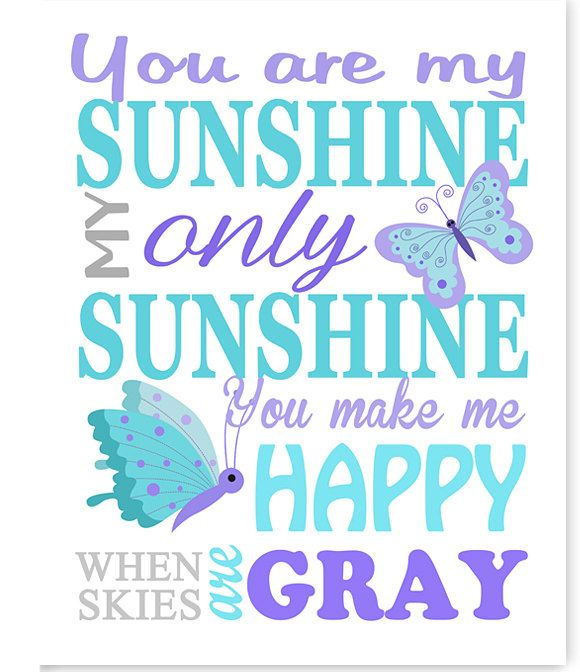 You Are My Sunshine, Butterfly Nursery Decor, Aqua Gray Purple, Girl's Room Decor, Baby Room Decor, Canvas Nursery Art, Baby Girl Decor by SweetPeaNurseryArt on Etsy