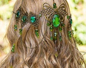 Emerald Dreams Circlet, stunning bronze & Emerald green hand made filigree bridal circlet