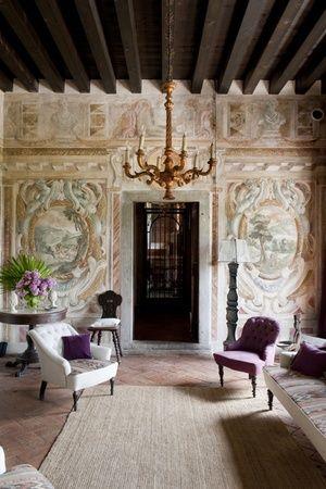 Italy - Friuli Venezia Giulia Frescoes in the music room at Villa Manin in Clauviano
