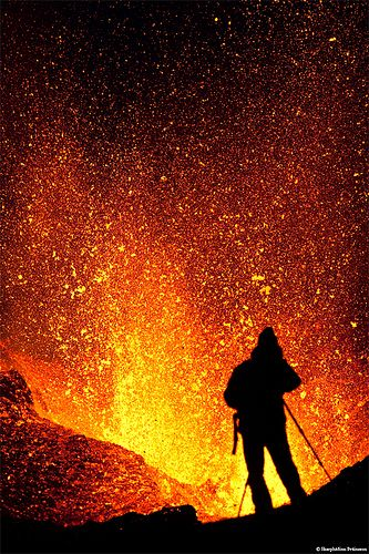 'Volcano Photography' On a truck trip over Mýrdalsjökull glacier to the erupting volcano in Fimmvörðuháls, Iceland, photographed this unknown photographer capturing images of flaming hot lava (1200°C) bursting up in the air ~ by Skarphéðinn Þráinsson.