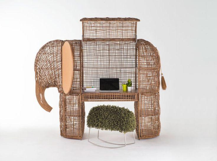 Rattan elephant desk. Photography courtesy of Kenneth Cobonpue.