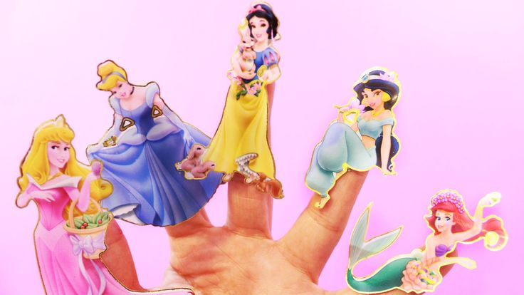 DISNEY PRINCESS Stickers Finger Family Songs - Cindrella Aurora Snow Whi...
