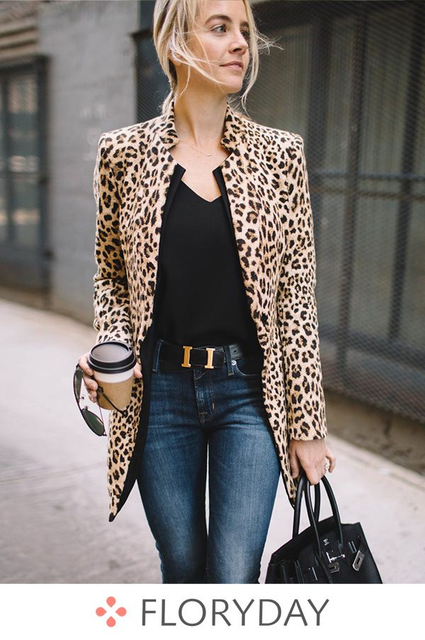 4bc218ce Polyester Long Sleeve Collar Coats, leopard coats, leopard, Spring outwear,  nice coats.