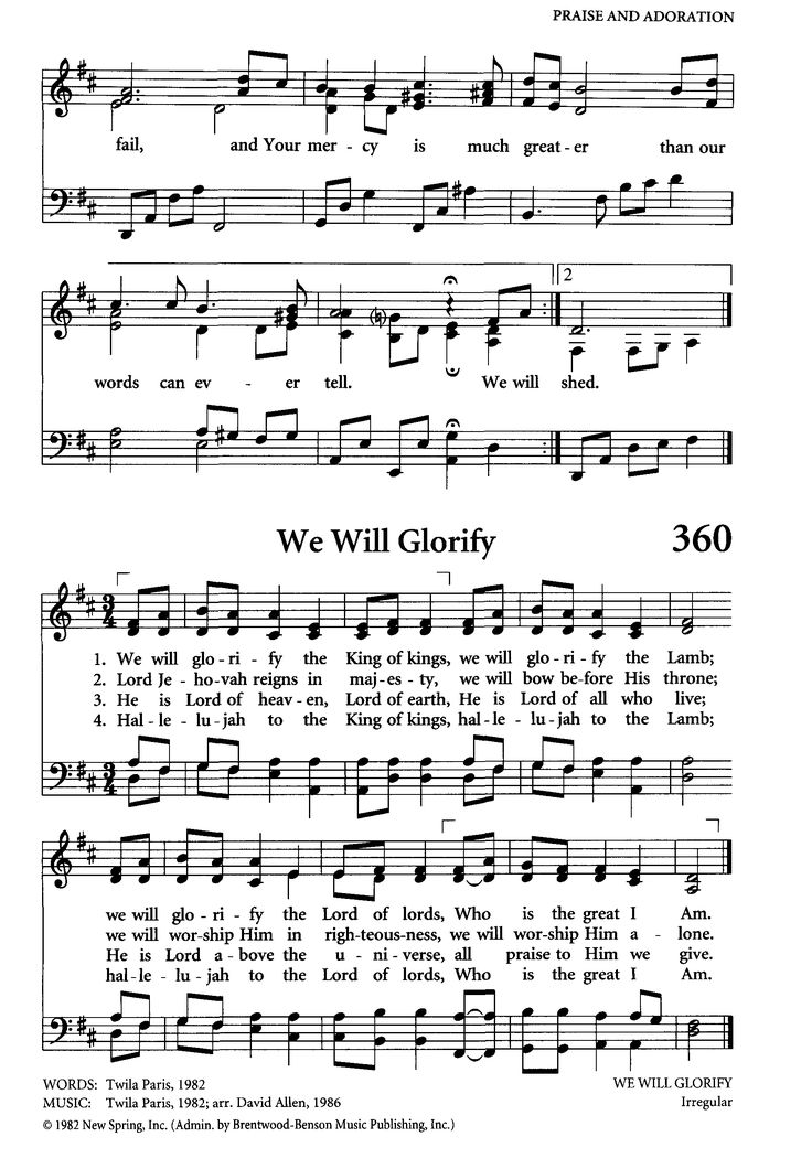 "high resolution  (1798×2591) from Hymnary.org; ""We Will Glorify"" by Twila Paris - still under copyright."