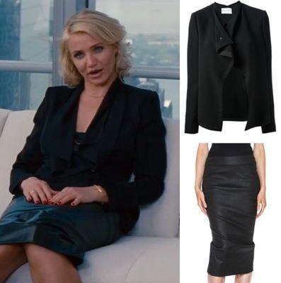 cameron diaz other woman movie black leather pencil skirt draped blazer jacket office