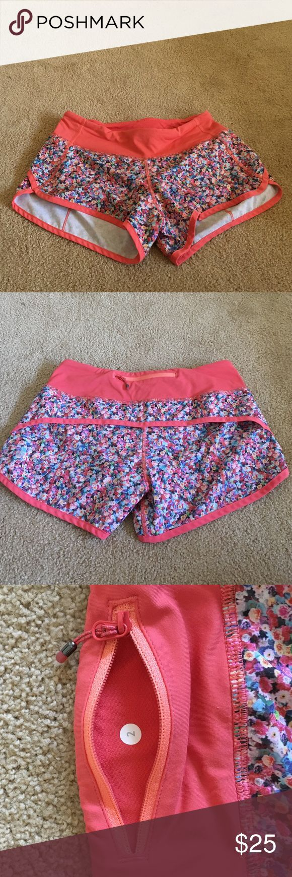 Lululemon Speed Shorts Floral Lululemon speed shorts. Like new! They're too small for me, so my loss is your gain! lululemon athletica Shorts