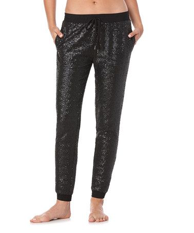 Love this Black Sequin Joggers on #zulily! #zulilyfinds
