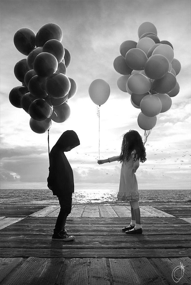 "Black & White — strangelycompelling: ""Black balloons"" © Josh..."