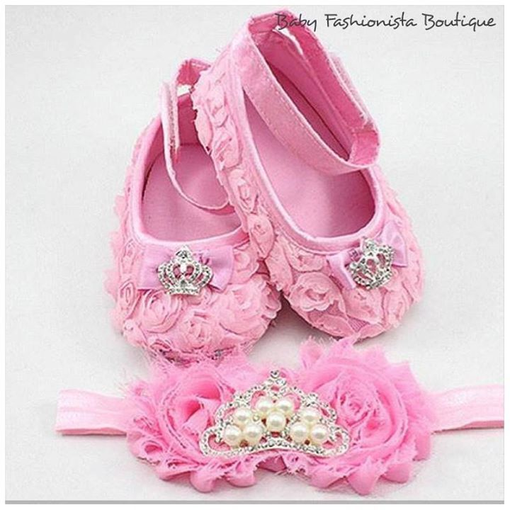 PINK shabby flower Royal Pearl Crown Baby Tiara First Walker Shoes with Matching Headband Size: 2 3 4  Colour - WHITE, PINK, FUSHIA $32