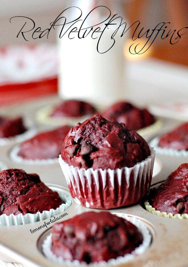 Triple chocolate red velvet muffins! www.lemonsforlulu.com