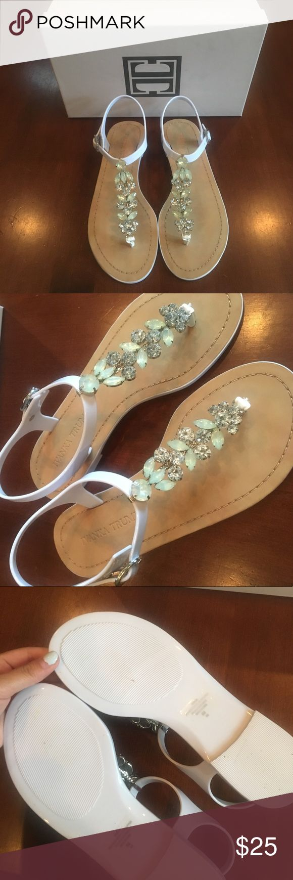 """NWOT Ivanka Trump Sandals NWOT Ivanka Trump """"Areya"""" jelly sandals in white. Woman's size 6. Beautiful embellished sandal, perfect for the summer! Comfortable, and can be worn up or down. Make me an offer!! :) Ivanka Trump Shoes Sandals"""