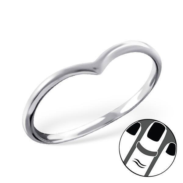 925 Sterling Silver Midi Ring Heart Wishbone US Size 3.5 Body Jewellery #6415