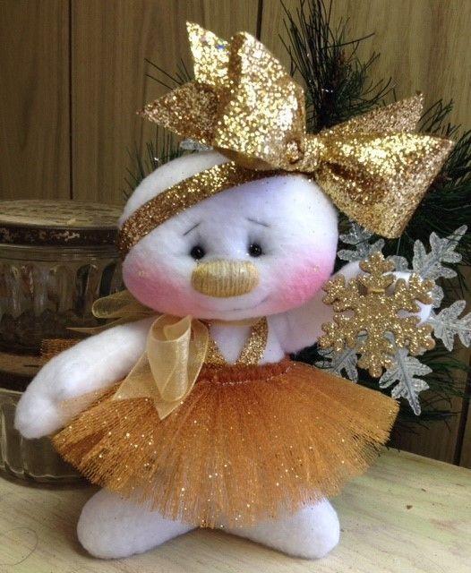 Primitive HC Raggedy Christmas Sugarplum Snowflake Snowman Snow Girl Doll Gold #IsntThatCute #Christmas