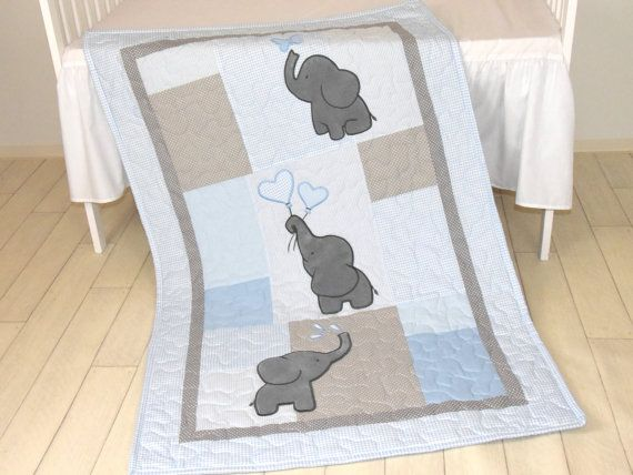 Baby Boy Quilt, Elephant Blanket, Blue Gray Crib Bedding, Safari Nursery The cute elephant baby blankets nice for boys too, with different