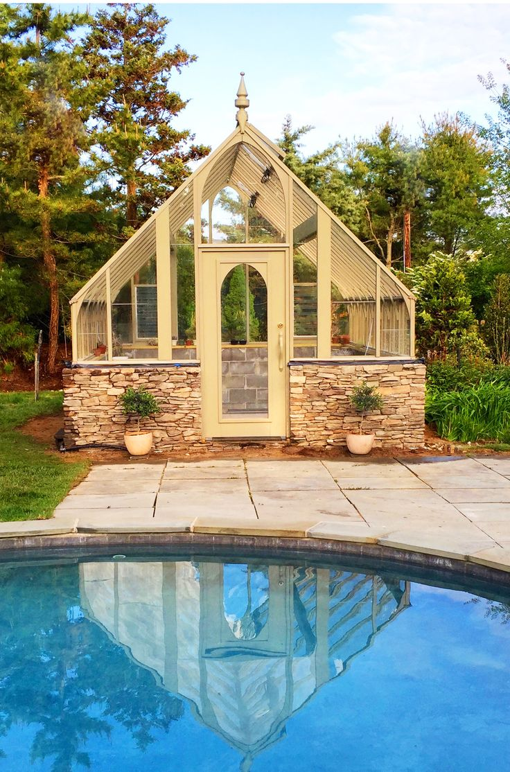 Tudor Greenhouse With Stone Base By Pool Green House Pinterest