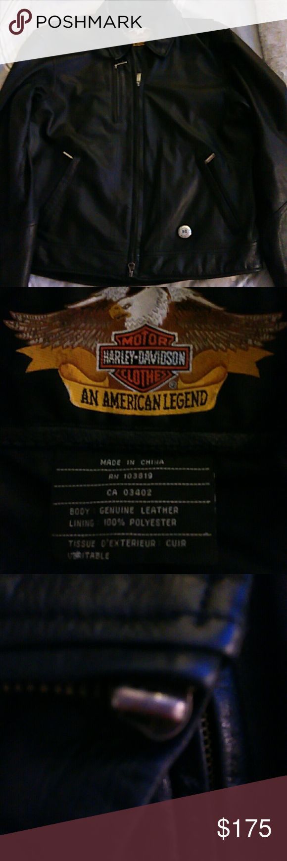 Authentic Harley Davidson leather jacket. Men's Medium leather jacket,worn maybe 10 times.Is missing zipper pull on the arm. Harley-Davidson Jackets & Coats