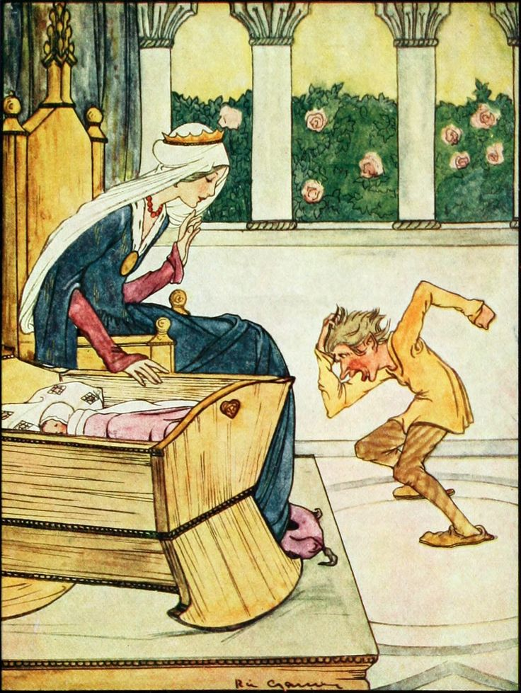 """12.  """"Perhaps,"""" Said She, """"Your Name is Rumpelstiltskin?""""  ---    Rie Cramer Illustrations: Grimm's Fairy Tales."""