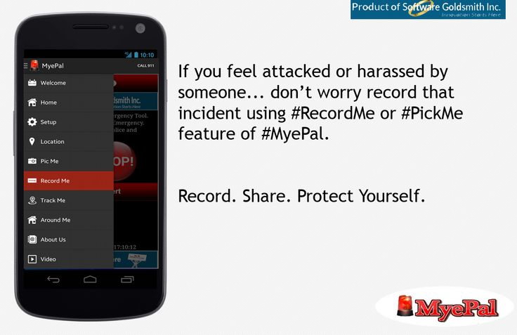 If you feel attacked or harassed by someone... don't worry record that incident using ‪RecordMe‬ or ‪PickMe‬ feature of ‪‎MyePal‬.  Record. Share. Protect Yourself.  ‪Pro‬ https://goo.gl/Nq2c2y ‎trial‬ https://goo.gl/D8Ft58