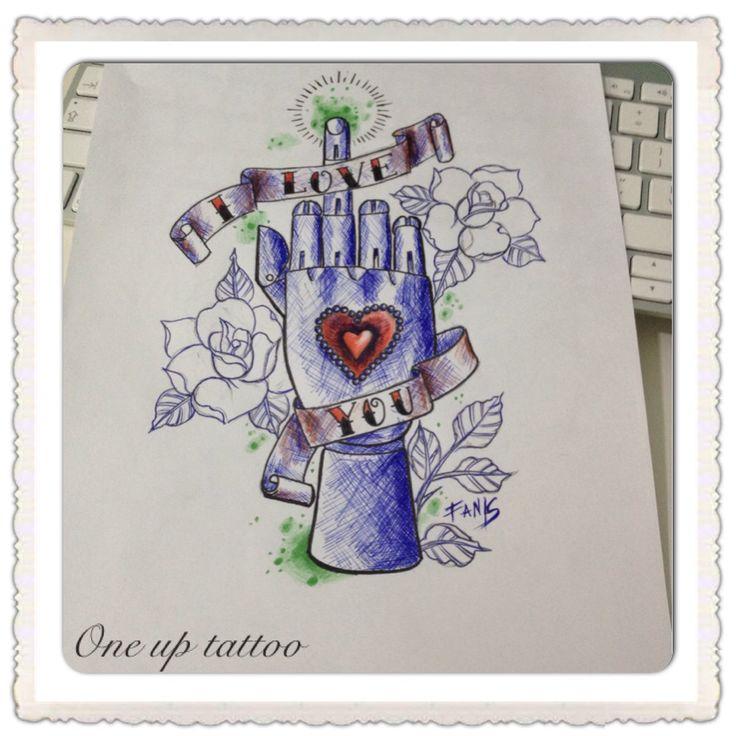 Wooden hand tattoo sketch