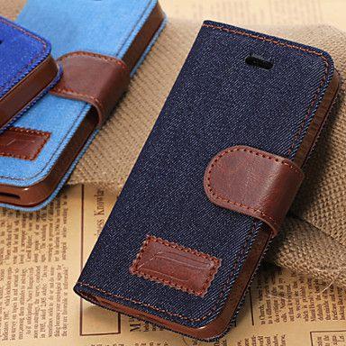 denim textuur horizontale flip lederen tas met kaartsleuven&houder voor iphone5c – EUR € 7.59