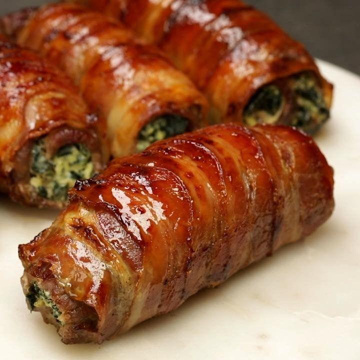 Involtini di carne e pancetta ripieni di ricotta e spinaci 😍 Un secondo facil…