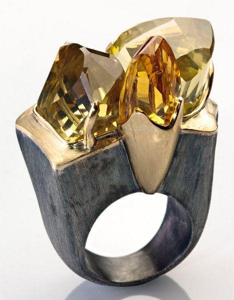 Bia Vasconcellos Boulder: 950 Silver, 18k gold, green/gold quartz, smoky quartz and citrus