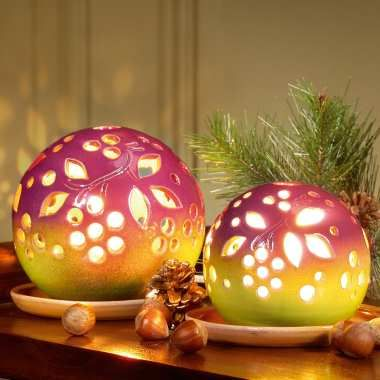 Cool Lichtkugeln aus Keramik als Stimmungslicht Leuchtkugeln mit Teller zur Dekoration Kugellampe mit Beleuchtung