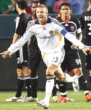 David Beckham celebrating after a goal...look at that tongue so funny!!:)