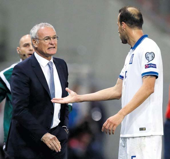 At a loss…Vangelis Moras looks to Ranieri for help during the calamitous Faroes defeat