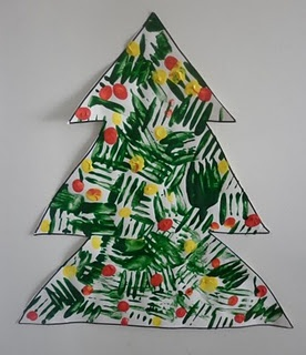 Christmas: tree painted with a fork (could also try a silicone basting brush?)
