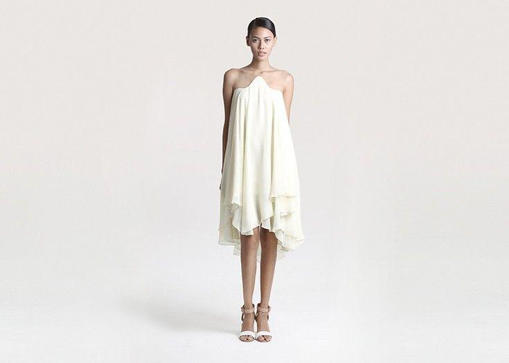 Ovule Yellow Layered Chiffon Dress by Peggy Hartanto