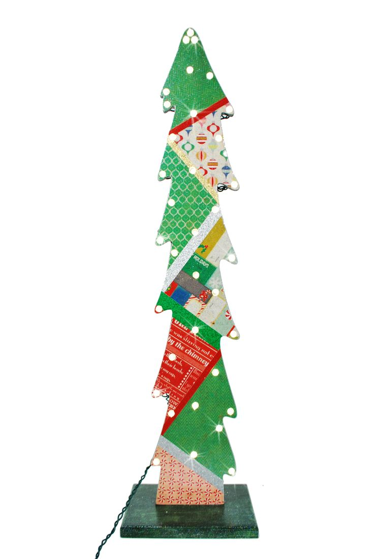 Wooden craft christmas trees - Nicole Crafts Lighted Papercrafted Wooden Tree Christmas Craft