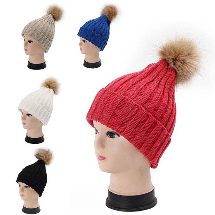 Chic Women Knitting Hat Female Leisure Pom Pom Crochet Beanie Stylish Headdress