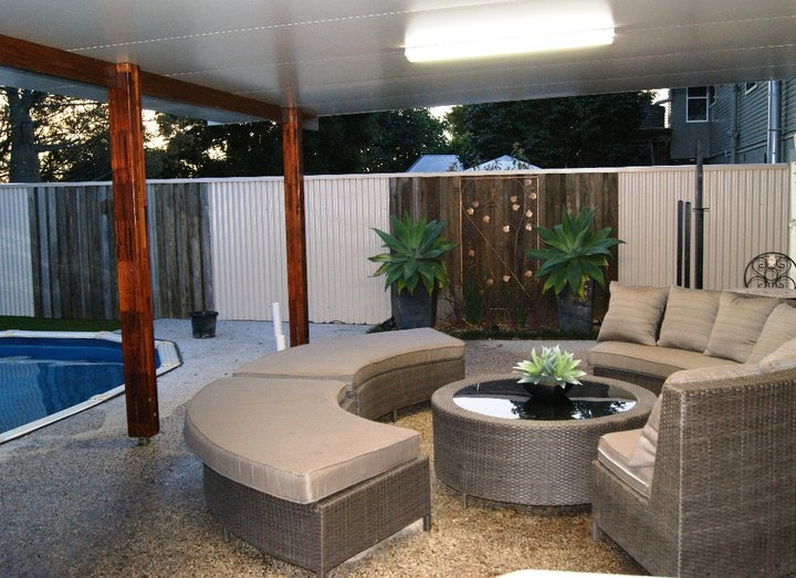 outdoor entertainment area backyard my home now then