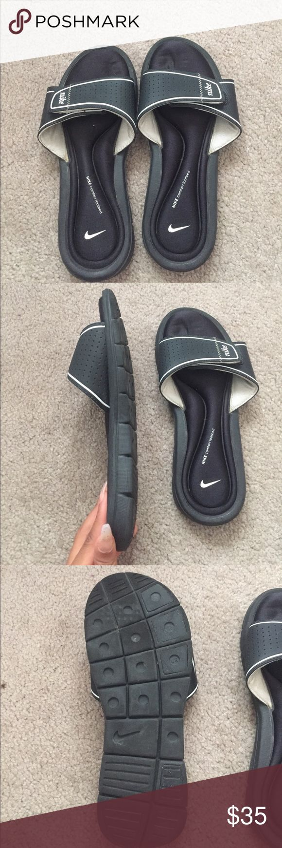 BLACK AND WHITE NIKE SLIDES BLACK AND WHITE NIKE SLIDES (very comfortable)!!!! 😍😍👑😍👑 ACCEPTING OFFERS Nike Shoes Slippers