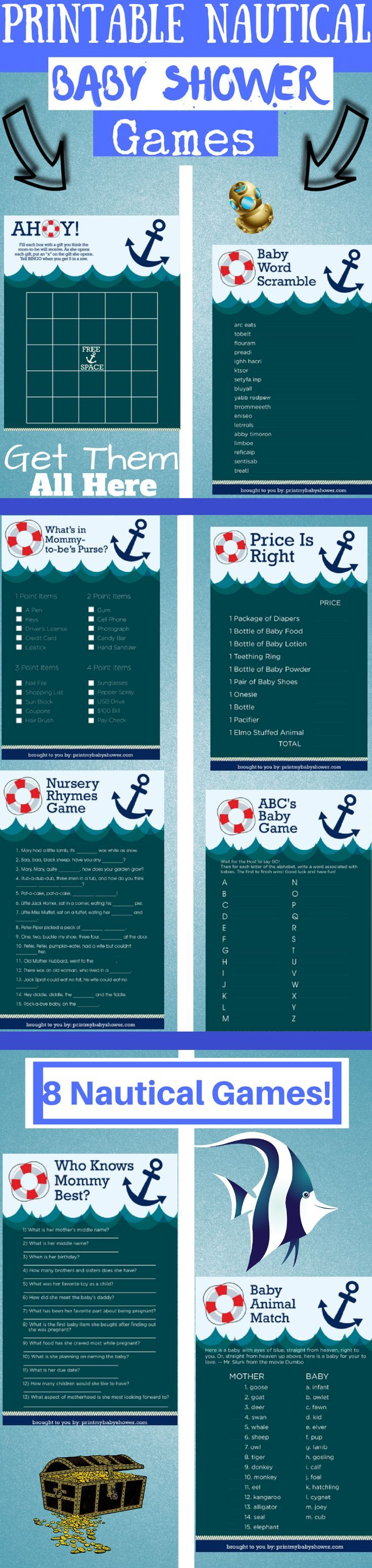 free printable famous couples bridal shower games%0A    Nautical Baby Shower Games Package