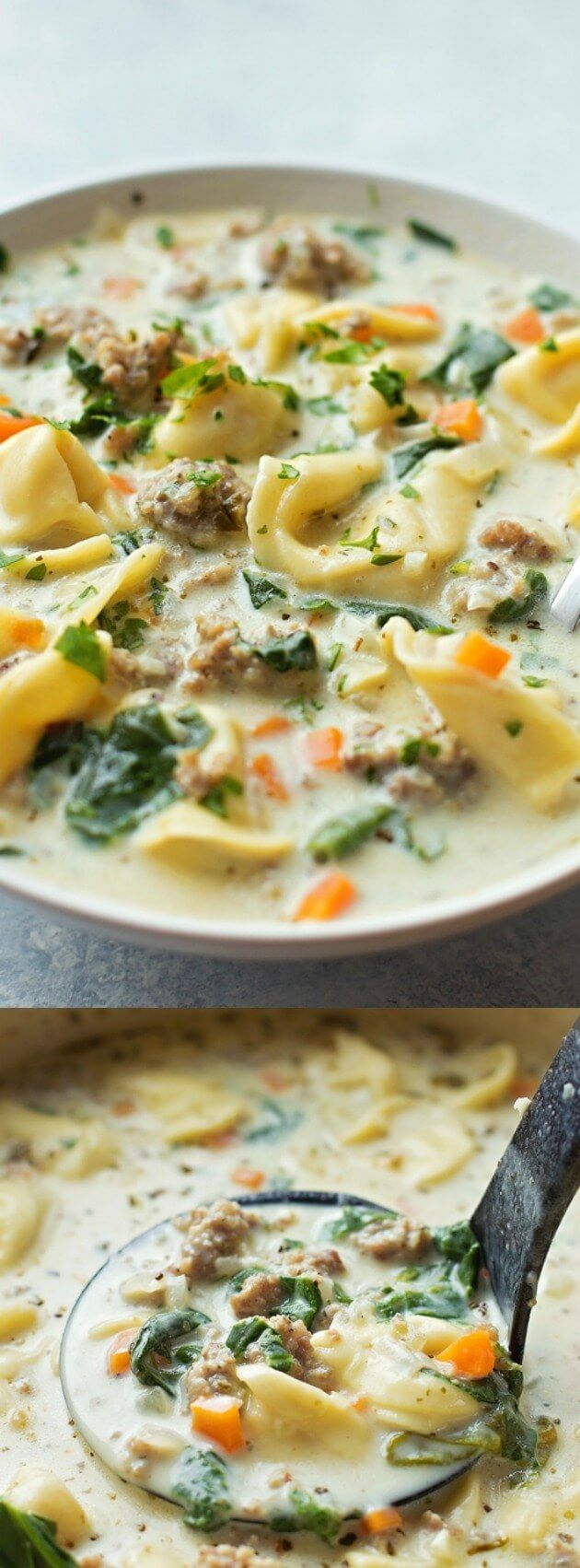 This Creamy Sausage and Tortellini Soup from Life Made Simple is a bowl full of comfort! Its loaded with veggies, sausage, and cheese tortellini!